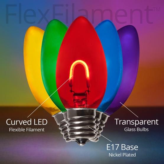 c9 multicolor glass led filament vintage christmas light bulb transparent
