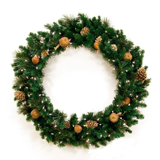 harvest gold prelit christmas wreath clear lights
