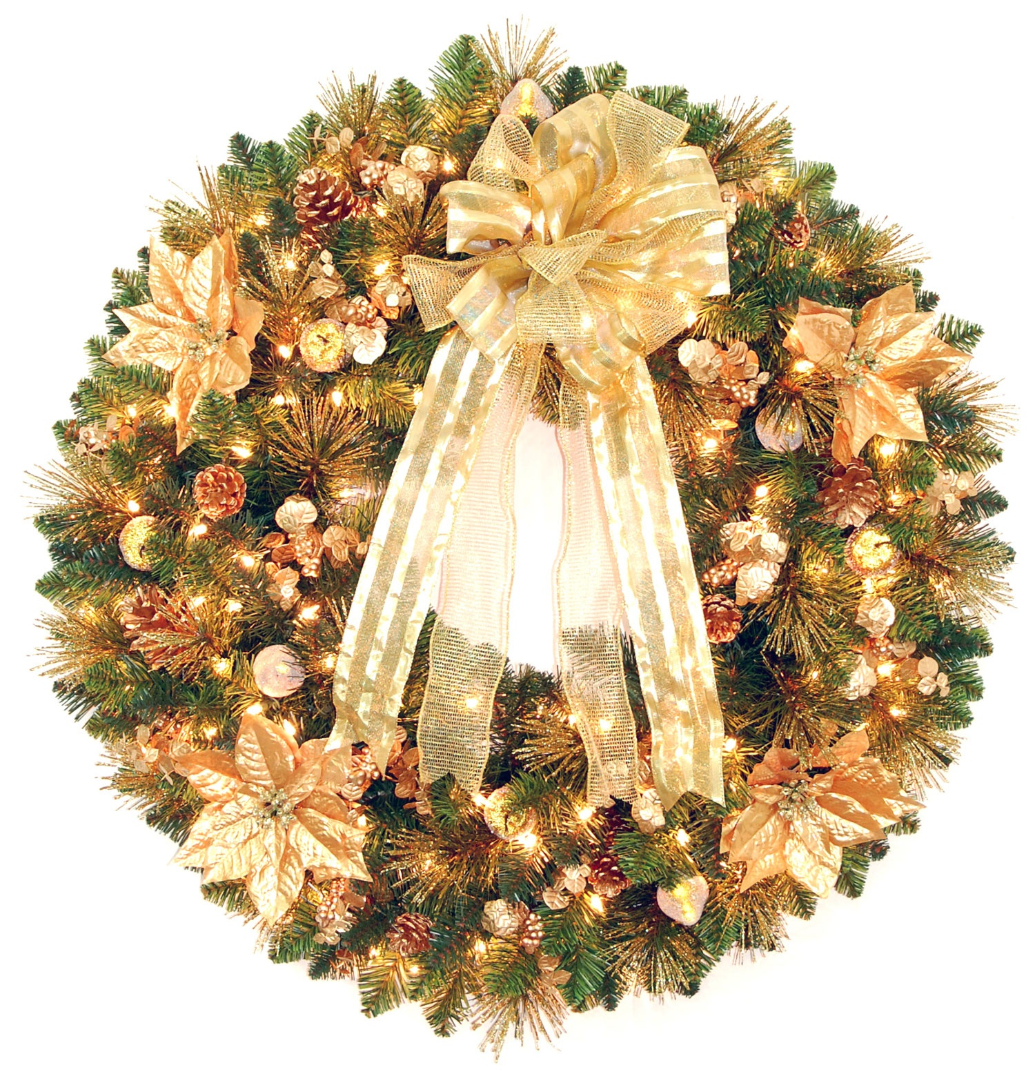 Decorative Wreaths - Harvest Gold Deluxe Prelit Christmas Wreath, Clear Lights