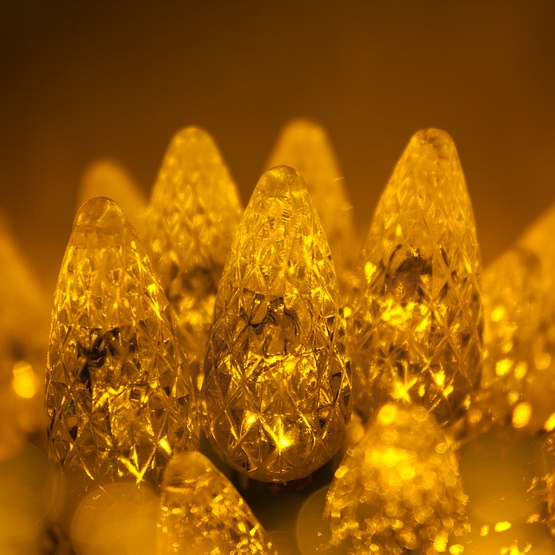 "70 C6 Gold LED String Lights, 4"" Spacing"