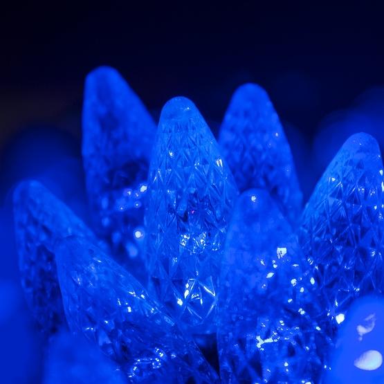 """70 C6 Blue LED String Lights, 4"""" Spacing"""