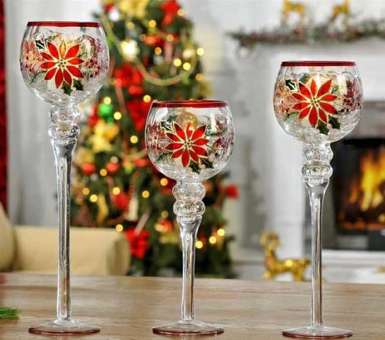 Christmas Candle Holders Poinsettia Glass Hurricane