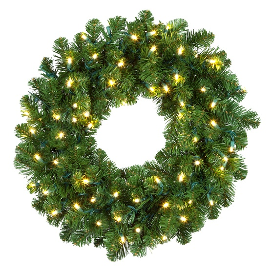 Oregon Fir Prelit Commercial LED Holiday Wreath, Warm White Lights - Artificial Christmas Wreaths - Oregon Fir Prelit Commercial LED