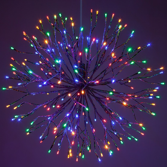 Silver Starburst Lighted Branches with Multicolor LED Lights, 1 pc
