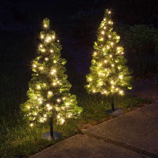 2 Walkway Pre Lit Winchester Fir Tree 50 Warm White Led Lamps