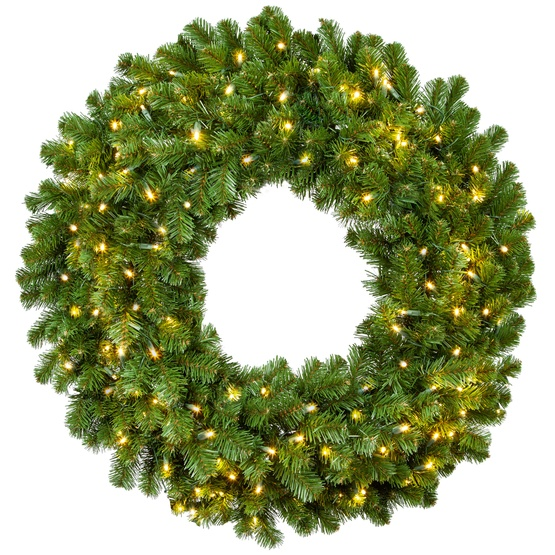 sale retailer 80125 0e8ab Sequoia Fir Prelit Commercial LED Christmas Wreath, Warm White Lights