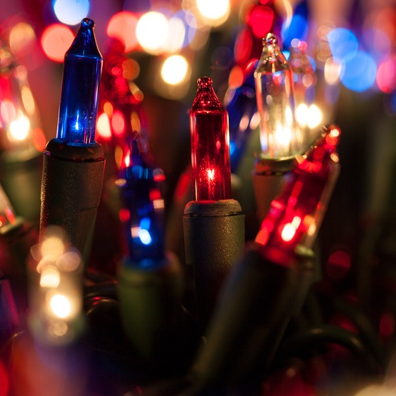 """Christmas Lights - 50 Red, White and Blue Christmas Tree Mini Lights, 6"""" Spacing, Green Wire"""