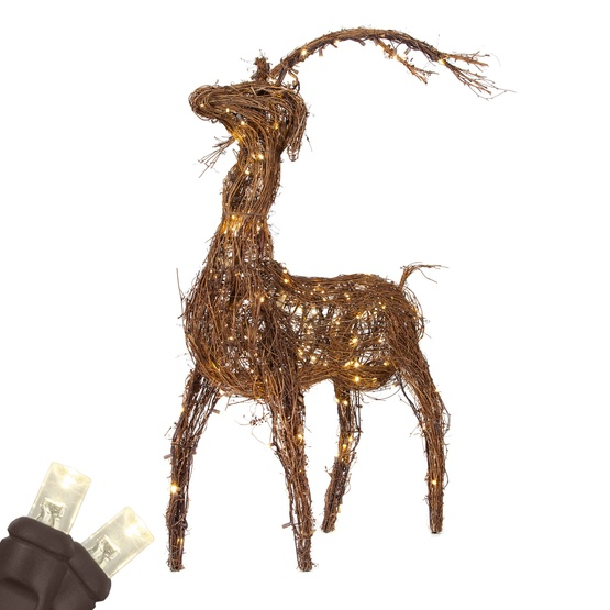 Grapevine Standing Reindeer Warm White Led Outdoor Yard Decoration