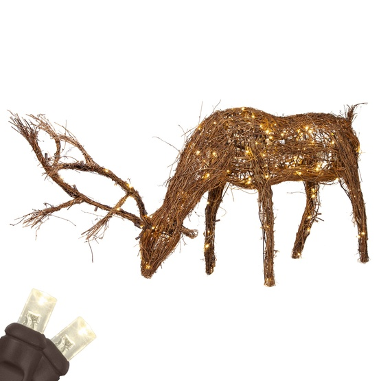 Grapevine Reindeer With Head Down Warm White Led Outdoor Yard Decoration