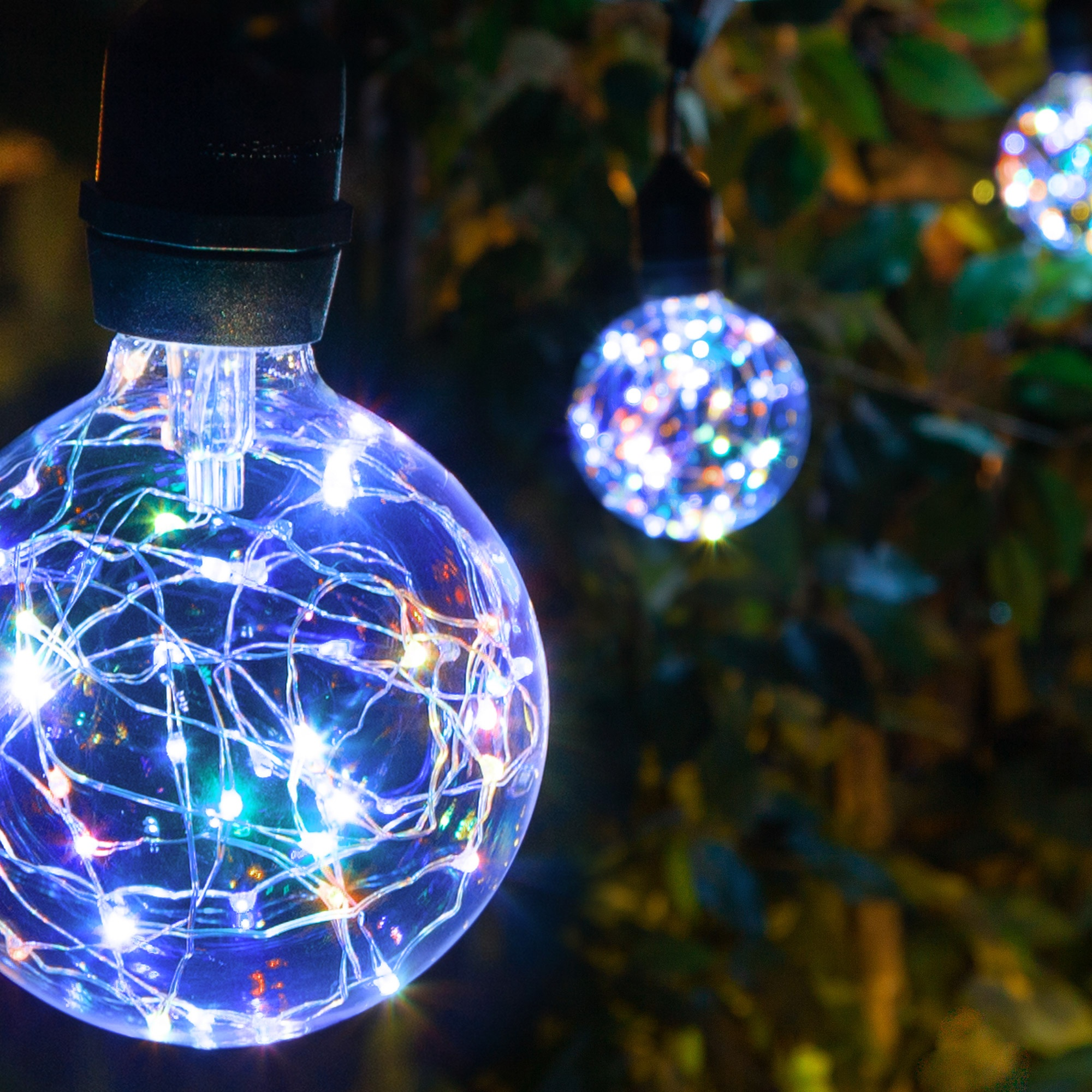 Picture of: Patio Lights Rgb Led Fairy Lights G95 Bulbs On Black Wire