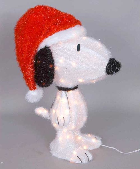 Christmas Lawn Decorations - 26'' 3D Lighted Snoopy with Santa Hat Peanuts Outdoor Decoration