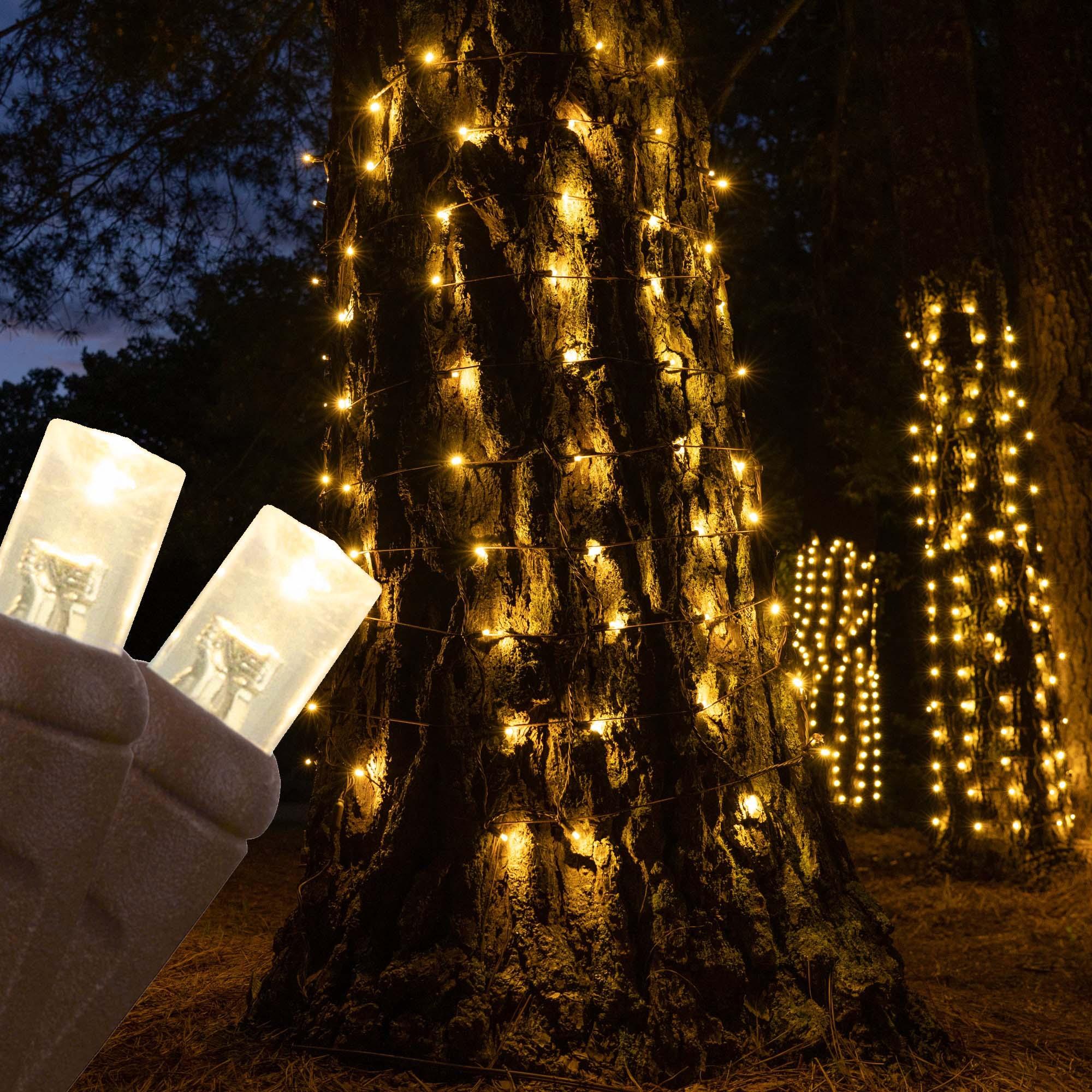 Led Net Lights 5mm 20 X 45 Warm White Led Stretchnet Pro Trunk Wrap Lights Brown Wire